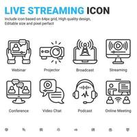 Vector live streaming icons vector with outline color style isolated on white background. Stream broadcast, online meeting zoom, internet conference, podcast, chat recording a webinar sign symbol icon
