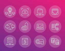 servers, networks, cloud solutions, data storage and hosting line icons set vector