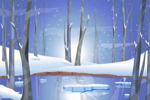 paisaje invernal con lago en el bosque tiempo de navidad nieve blanca y árboles vector