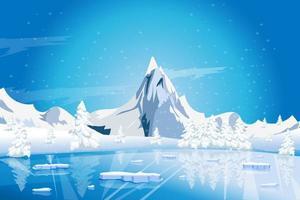 lago tranquilo invierno naturaleza paisaje con montañas vector