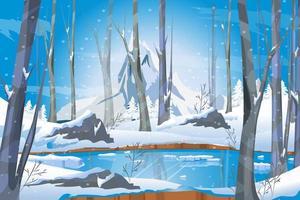 paisaje invernal con lago en el bosque blanco nieve y árboles vector