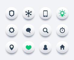 Basic web icons set, communication and technology vector