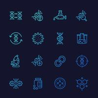 genetics icons, dna chain, gene editing and genetic research, line vector set
