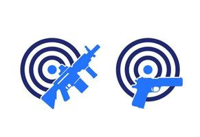 guns and target, rifle, pistol vector icons