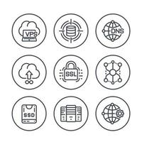 hosting service and network solutions line icons set on white vector