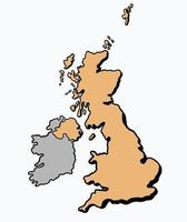 Doodle freehand drawing of The Great Britain map. vector
