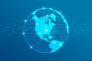 Global network lines connection. World map point with dots connection concept of global business background. vector