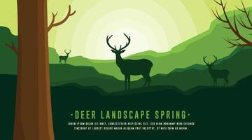 Green Nature Backgrounds, Nature and Forest Backgrounds, Deer Animal Backgrounds vector