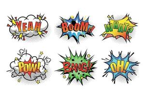 Cartoon speech bubble with phrase Boom, yeah, what, pow, bang, oh vector
