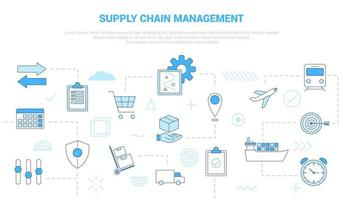 scm supply chain management concept with icon set template vector