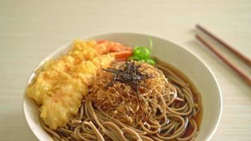 Japanese ramen noodles with shrimps tempura video