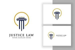 justice law logo design. attorney logo with pillar and star shape vector