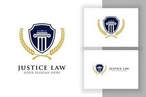 justice law badge logo design template. emblem of attorney logo vector