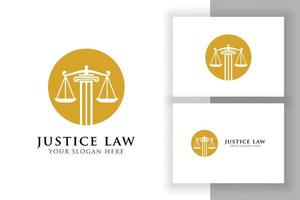 justice law logo design template. attorney logo vector design. scales and pillar vector illustration logo in the circle