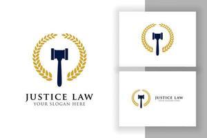 Ilustración de icono de vector de martillo de juez. símbolo de mazo de juez