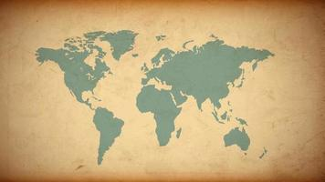 Grunge World map on old paper vector