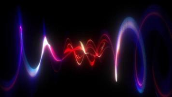 glow red blue dots wave rotate motion seamless loop on black background. video