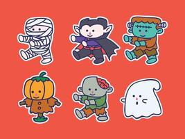 Cute and kawaii Halloween Character Illustration Sticker Set mummy, dracula, ghost, zombie, scarecrow, frankenstein vector