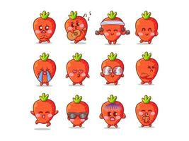 Cute and Kawaii Strawberry Sticker Illustration Set With Various Activity and Expression for mascot vector