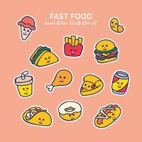 Kawaii Fast Food Ice cream, French Fried, Chip, Sandwich, Burger, Cola Drink, Chicken, Pizza, Taco, Doughnut, Hot Dog, Sticker Illustration Set vector