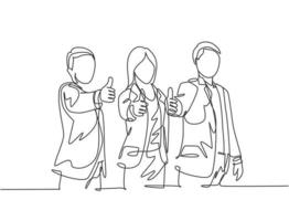One line drawing of young happy businessmen and businesswoman stand up and giving thumbs up gesture together. Business teamwork building concept. Continuous line draw design vector illustration