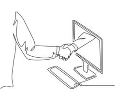 Continuous line drawing of business men shaking hand to deal a project. Hand come out from computer monitor screen. Digital online transaction concept. One line drawing vector graphic illustration