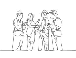 One line drawing of young business woman and architect builder wearing construction vest helmet handshake to deal project. Great teamwork concept. Continuous line drawing, vector graphic illustration
