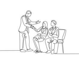 un dibujo lineal de la reunión del gerente de la empresa y el apretón de manos de los candidatos empleados mientras están sentados en una silla para tomar una entrevista de trabajo. Ilustración gráfica de vector de diseño de dibujo de línea continua moderna