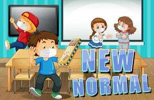 New normal life with students wearing face mask in the classroom vector