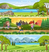 Different panoramic nature landscape set with cartoon character vector