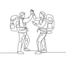 One line drawing of two young happy tourist carrying backpack to go to holiday and gives high five gesture. Backpacker traveling concept continuous line graphic draw design vector illustration