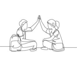 One line drawing of young happy couple male and female sitting on the floor and giving high five gesture. Relationship concept continuous line draw design graphic vector illustration