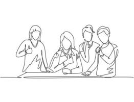 One line drawing of young happy female elementary school teacher surrounded by her boys and girls students at class. Study education concept. Continuous line draw graphic design vector illustration