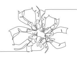 dibujo de una línea de manos del brazo con el pulgar hacia arriba y el pulgar hacia abajo signo de gesto. buena excelencia y mal concepto de símbolo de peor servicio. Ilustración de vector gráfico de diseño de dibujo de línea continua