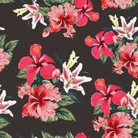 Seamless pattern tropical summer with red Hibiscus and Lily flowers abstract background. Vector illustration hand drawing dry watercolor style.