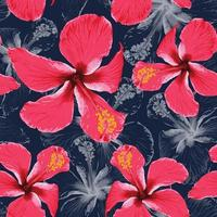 Seamless pattern tropical summer with red Hibiscus flowers abstract background.Vector illustration hand drawing dry watercolor style.For fabric design. vector
