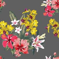 Seamless pattern floral with pink Hibiscus,Frangipani,Orchid and lily flowers abstract background.Vector illustration watercolor hand drawning. vector