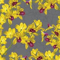 Seamless pattern floral with yellow Orchid flowers abstract backgground.Vector illustration drawing.For used wallpaper design,textile fabric or Product packaging. vector