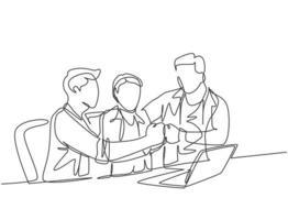 un dibujo de línea continua de marketing multinivel o upliner de mlm haciendo una presentación con una computadora portátil para un posible candidato a downliner. Ilustración de vector de diseño de dibujo de línea única de concepto de negocio de mlm
