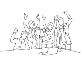 One continuous line drawing of young happy business man and business woman celebrating their success achieve the business target. Team work goal concept single line draw design vector illustration