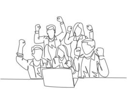 One continuous line drawing of young happy business man and business woman sitting in front of laptop and celebrating their success. Team work goal concept single line draw design vector illustration