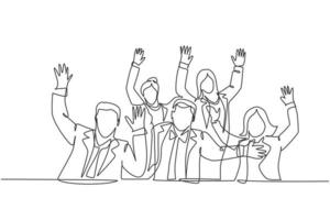 One single line drawing of young happy business man and business woman celebrate their success to deal new business agreement. Business meeting concept continuous line draw graphic design illustration vector