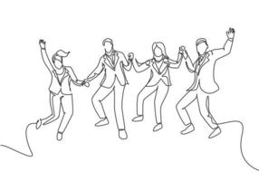 One line drawing of young happy business man and business woman jumping to celebrate their successive team business. Business deal concept continuous line draw graphic design vector illustration