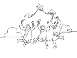 One line drawing group of young happy graduate male and female college student jumping and wear graduation gown. Education celebration concept. Continuous line draw graphic design vector illustration