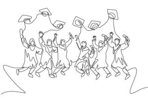 One line drawing group of young happy graduate male and female college student jumping wear gown and giving thumbs up gesture. Education concept continuous line draw graphic design vector illustration