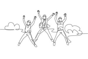 One line drawing of young happy business man and business woman jumping to celebrate their successive business. Business deal celebration concept. Continuous line draw design vector illustration