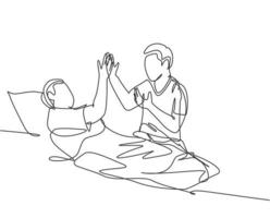 Single line drawing of son take care of his sick father at hospital and should be take a bed rest and give high five gesture. Medical healthcare concept continuous line draw design vector illustration