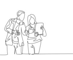 One continuous line drawing of young startup members check the work each others using laptop and tablet. Business process teamwork concept. Single line draw design vector illustration