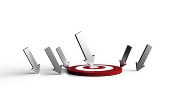 Silver arrow hit in the target no white background. Business concept. photo