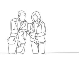 One continuous line drawing of young happy male and female marketing manager discussing sales progress on tablet phone. Online business report concept. Single line draw design vector illustration